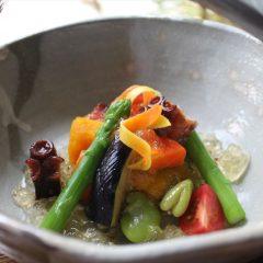 地蛸と夏野菜の炊き合わせ